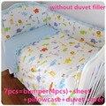 Promoción! 6 / 7 unids sistema del lecho del bebé para bebé recién nacido ropa de cama para chica chico de dibujos animados, 120 * 60 / 120 * 70 cm
