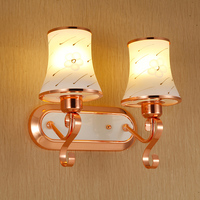 Modern Rose gold glass lampshade wall lamp,1 2 head Painting pattern glass shade wall light for Aisle hotel bedroom bedside lamp