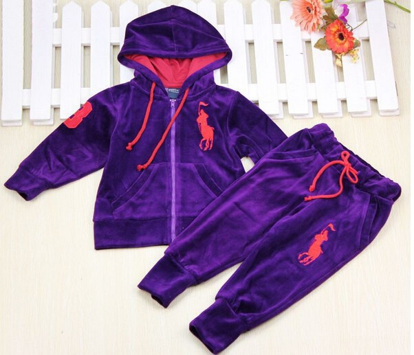 691d6a8915ca Autumn 2014 New Fashion Baby Boys and Girls POLO Clothing Set Children  sports suit Kids Costumes boy\'s suit Velvet Outfits