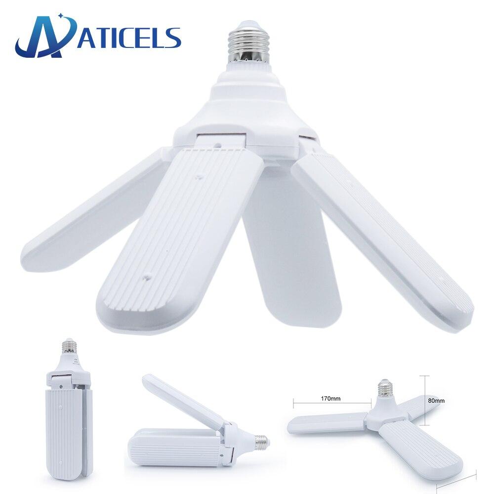 96-265V E27 Lâmpada LED Dobrável Pá Do Ventilador Lâmpada 30W 45W 60W Lâmpada LED Super branco brilhante 6500K para o Interior Luz de Teto Para Casa