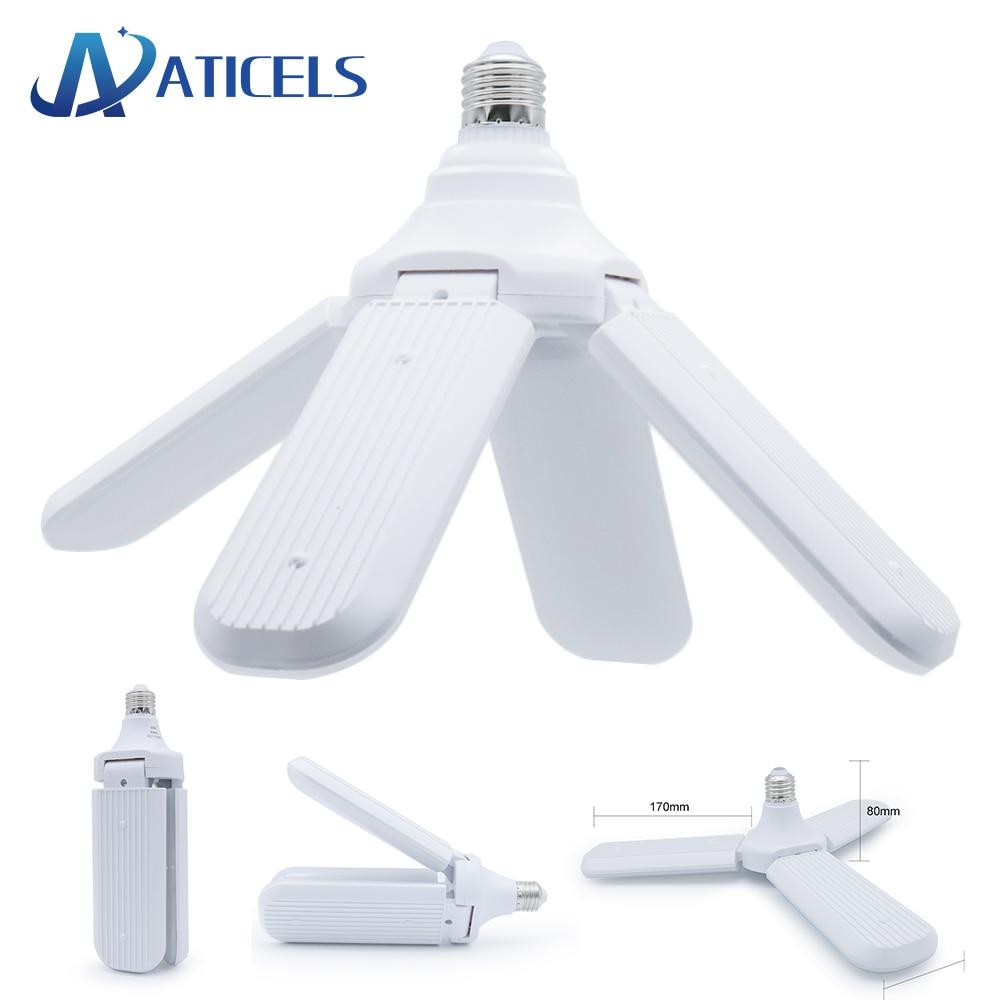 96-265V E27 Led-lampe Faltbare Fan Klinge Birne 30W 45W 60W LED Lampe Super helle Weiße 6500K für Indoor Hause Decke Licht