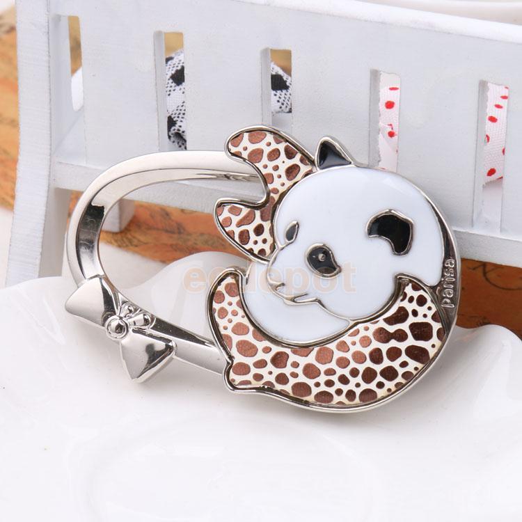 Folding Handbag Purse Hanger Bag Table Hook Holder Panda Decor Coffeeu0026White