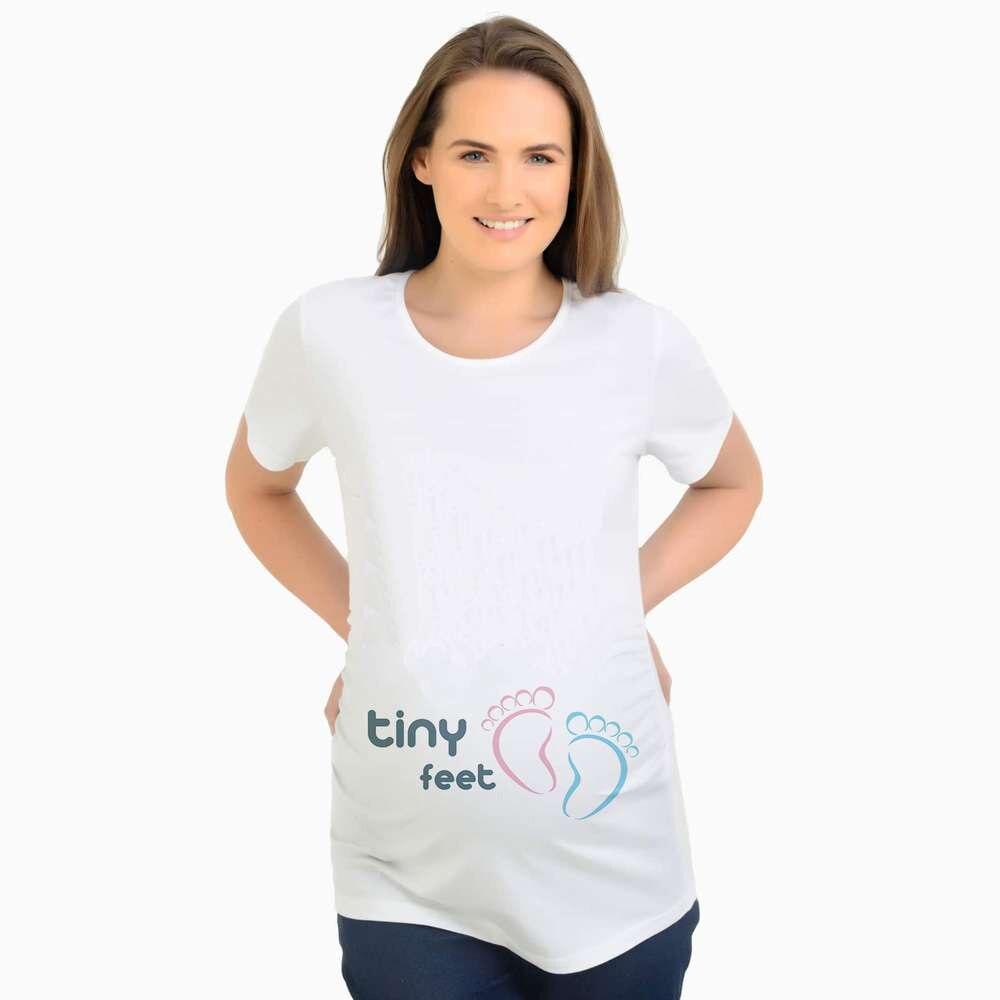 Nya Sommar Kvinnor Damtoalett Roliga Söt Babies Fot Skriv ut Gravid kvinna T-shirt Kortärmad Maternity Graviditet Kläder tee Y041