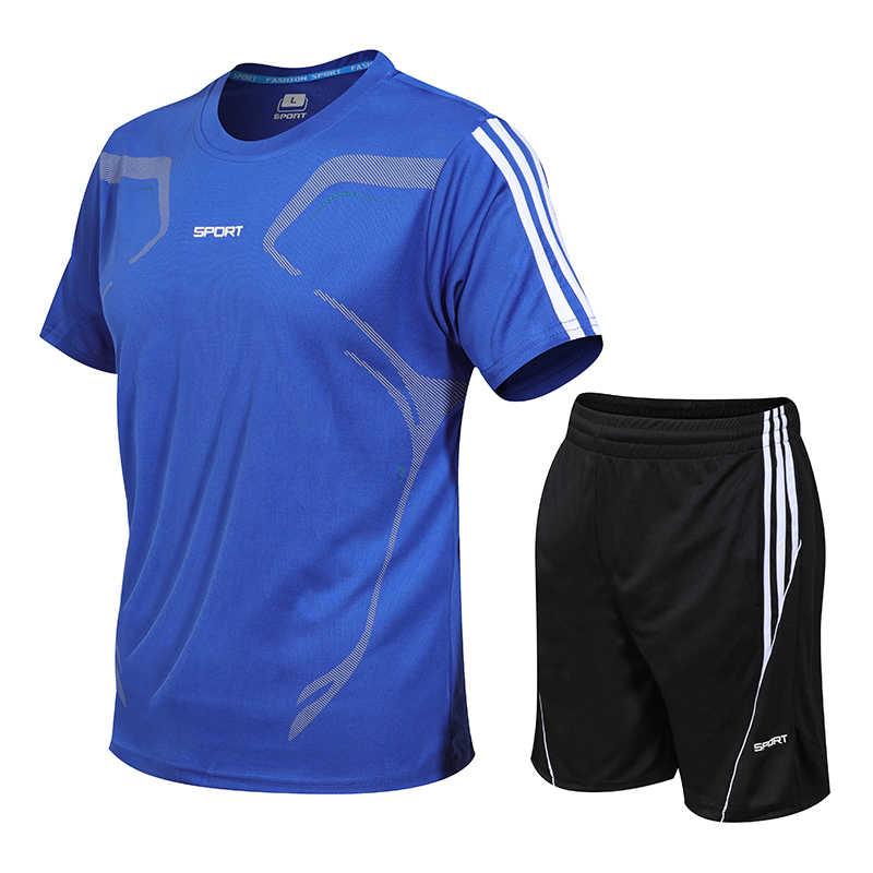 Модные мужские комплекты летний костюм мужские костюм для фитнеса быстросохнущие шорты с коротким рукавом спортивный костюм мужские с круглым вырезом однотонная спортивная одежда из двух предметов