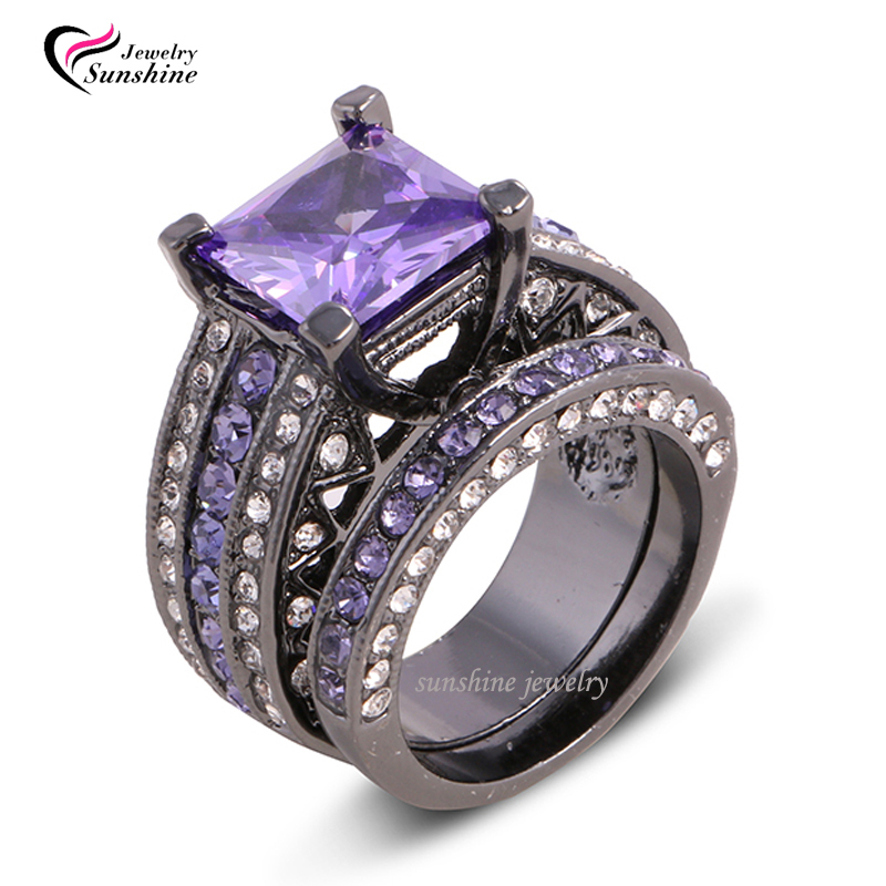 Size 6 7 8 9 10 Black Rhodium Plated Purple Top Princess Wedding Engagement Ring Band Set Pair In Rings From Jewelry Accessories On Aliexpress