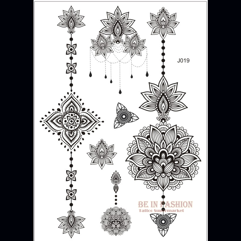 1piece Indian Arabic Designs Lace Flash Tribal Black White Henna Tattoo Paste Fake Tatoo Sticker Girls On Body Hand Choker J019B