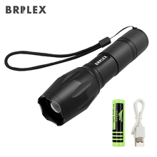 BRILEX Flashlight LED Tactical Flashlight Ultra Bright torch T6 Camping Light 18650 battery waterproof Black BSB Rechargeable