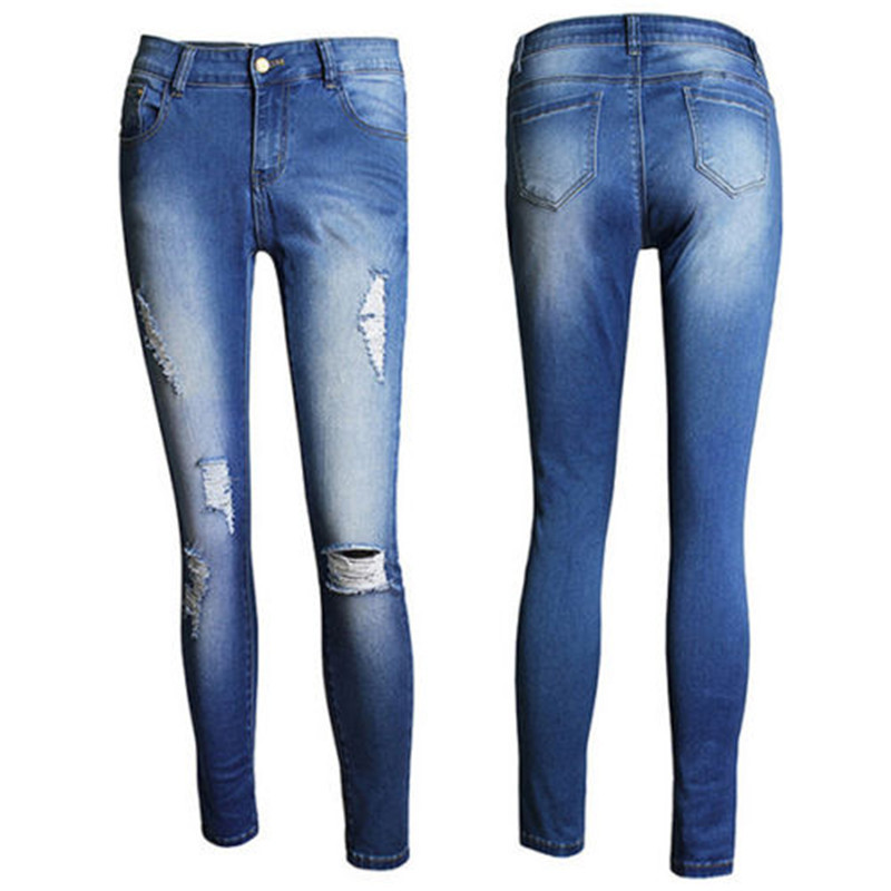 Women Denim Jeans Distressed Jeggings Trousers Ladies Stretch Pencil Long Pants dkny jeans women s printed denim ankle jeggings 2p multi