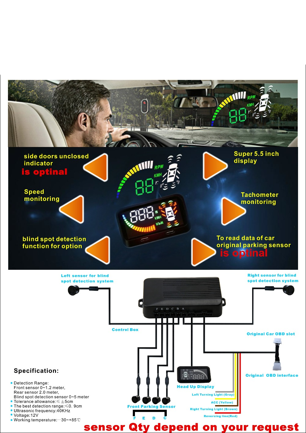 parktronic hud car blind spot detector parking assistant 5.5 HUD OBD II head up +2 BSA sensor +4 back radar 2 front sensor geyiren x5 avtomobilej head up displej 3 djujmov hud avtomobilja obd ii vozhdenie avtomobilja skorost preduprezhdenie jelektronnyj budilnik naprjazhenie vetrovogo stekla proektor
