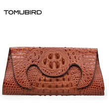 TOMUBIRD new superior leather  Embossed Crocodile Evening Cluches designer bag famous brand women genuine leather clutch bag