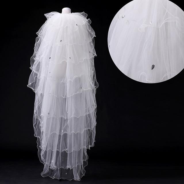 Meter Crystal Beaded Wedding Veil Elegant Multi Layer Puffy Long Bridal Veils Veu De Noiva