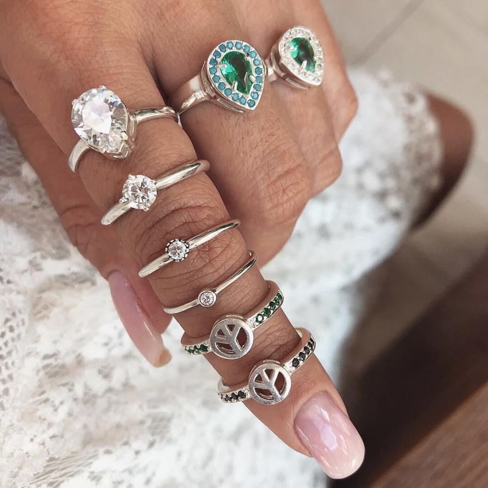 Doeltreffend 8 Stks/set Retro Boho Steentjes Knuckle Midi Ringen Vinger Decor Vrouwen Sieraden Om Geavanceerde Technologie Te Adopteren