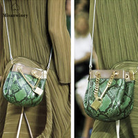 Misanwiney Brand Genuine Leather Handbag Women Tassel Shoulder Bag Female Small Tote Bag Gold Python Pattern