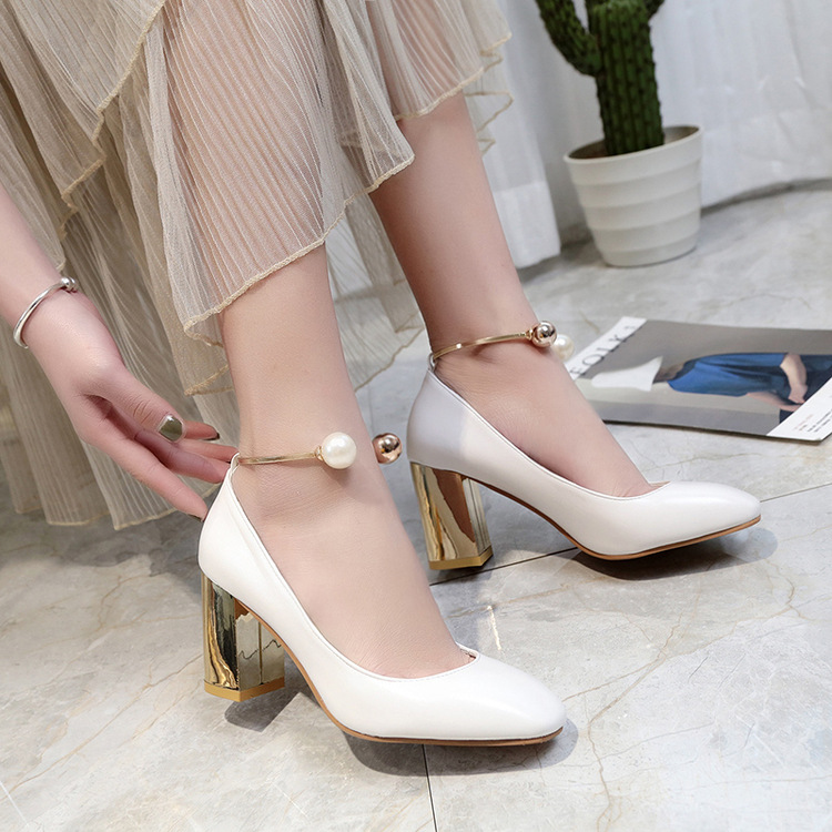 2017all Shoesstar Women Mary Jane Heels White Bridal Wedding High Heels Round Toe Chunky High Pumps Shoes Pink Beige Big size658 купить недорого в Москве