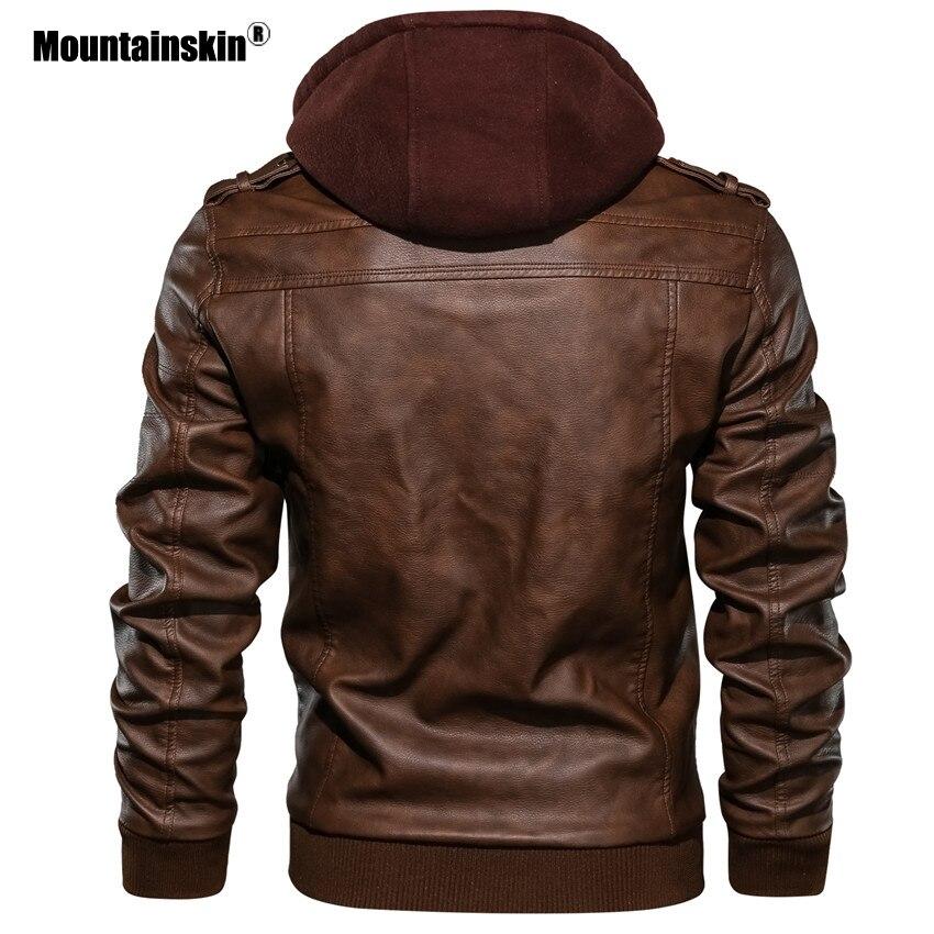 Alpinskin 2019 nouveaux hommes vestes en cuir automne décontracté moto veste en cuir synthétique polyuréthane Biker manteaux en cuir marque vêtements EU taille SA722 - 4