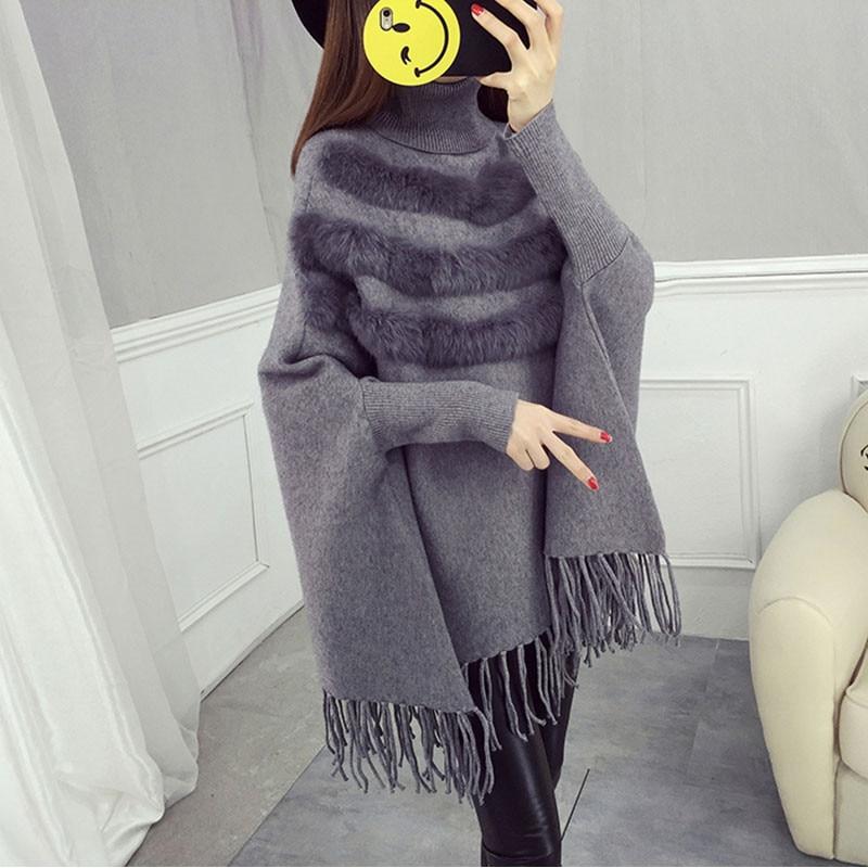 2017 Winter Frauen Mode Gestrickte Pullover Wraps Batwing Hülse Quaste Unregelmäßigen Mantel Rollkragen Lose Fell Jumper Cape Mäntel