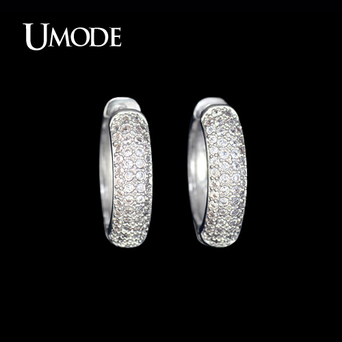 font b UMODE b font Rhodium plated Cheap Female Brincos Paved Tiny AAA CZ Stones