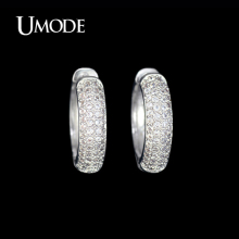 UMODE Rhodium plated Cheap Female Brincos Paved Tiny AAA+ CZ  Stones Fashion Hoop Earrings Jewelry For Women AUE0093
