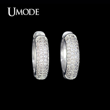 UMODE White Gold Color Cheap Female Brincos Paved Tiny AAA CZ Stones Fashion Hoop Earrings Jewelry