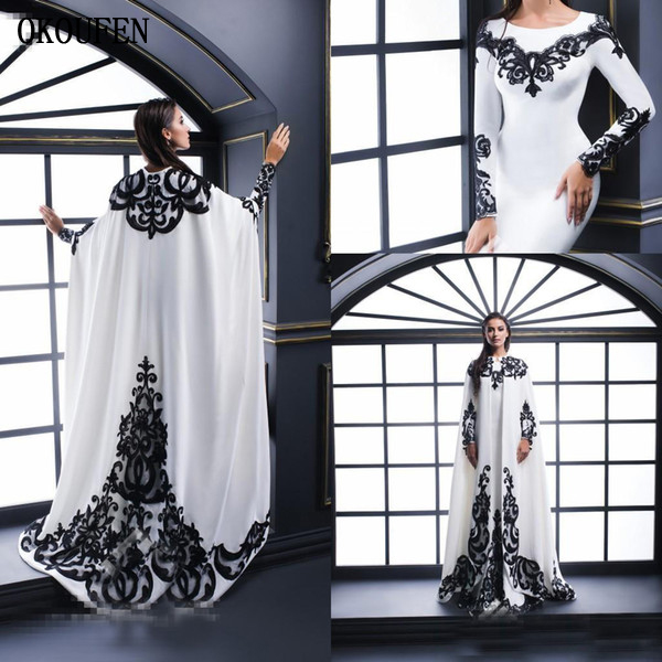 2019   Evening     Dresses   White and Black Cape Jacket Formal Prom Celebrity Saudi Arabic robe de soiree vestido de fiesta de noche