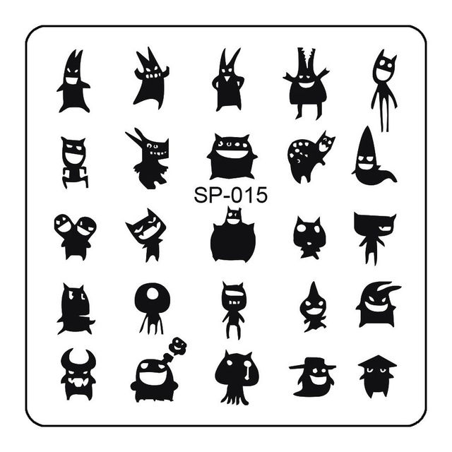 Square shape harajuku expression nail design plate dragon ghost square shape harajuku expression nail design plate dragon ghost stamping template with protective layer sp015 prinsesfo Image collections
