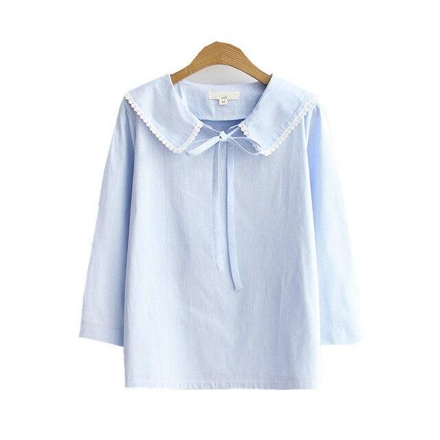 c6baf7694 2017 japonés fresco mujeres sueltan azul cielo poco rayas camisa cuello de  marinero lindo Mori Niñas