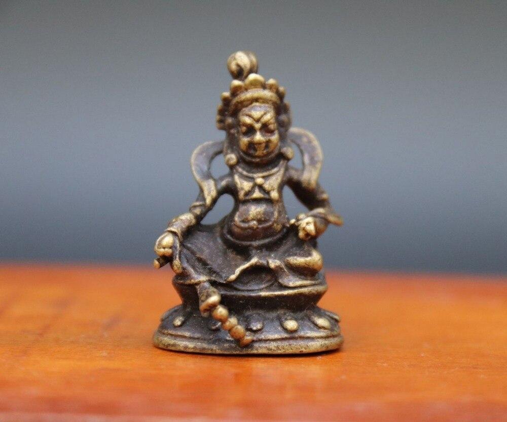 3.5 cm Yellow Jambhala Zambala Wealth God Buddha Statue Tibetan Bronze Amulet