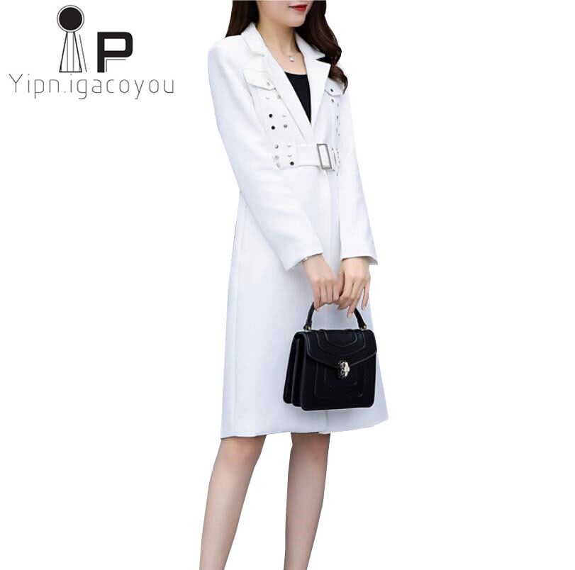 White Elegant   Trench   Coat Women Long Windbreaker Autumn Plus size Rivet Sashes Overcoat Fashion Office Outerwear Women Coat XXL