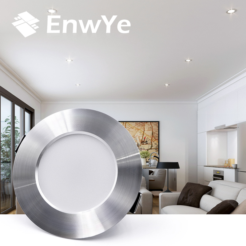 EnwYe LED Downlight Ceiling silvery 5W 9W 12W 15W Warm white/cold white led light AC 220V 230V 240V(China)