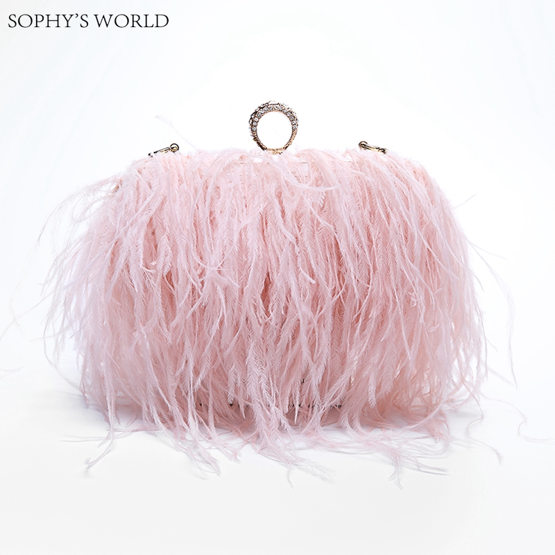 Luxury Feathers Handbags For Women Clutch Evening Bag Female Mini Tote Purse Diamond Party Weeding Bag Chains Shoulder Bag lanso new diamond ostrich feathers shoulder bag pearl priting diamond handbags women evening bags party purse wedding clutch