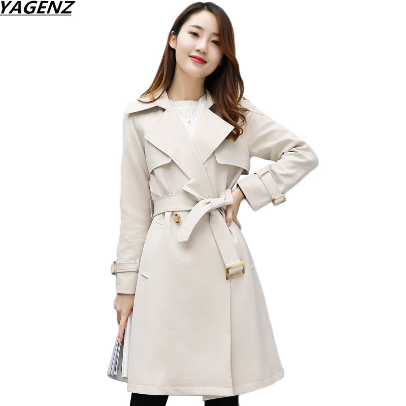 Women Trench Coat 2017New Spring Autumn Trench Coats Slim Fashion Medium-Long Outerwear Plus Size Windbreaker Female YAGENZ K639