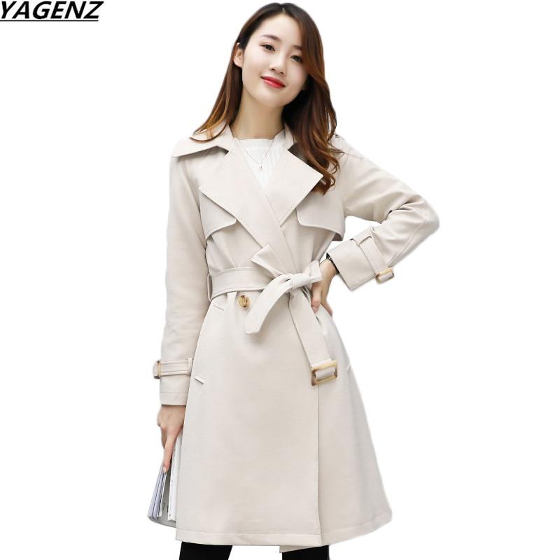 Women   Trench   Coat 2017New Spring Autumn   Trench   Coats Slim Fashion Medium-Long Outerwear Plus Size Windbreaker Female YAGENZ K639
