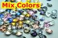 100 unids/lote Colores Mezclados 8mm, 10mm, 12mm, 14mm, 16mm, 18mm, 20mm Chino de Calidad Superior Redondo Fancy Stone Rivoli perlas de vidrio Envío gratis