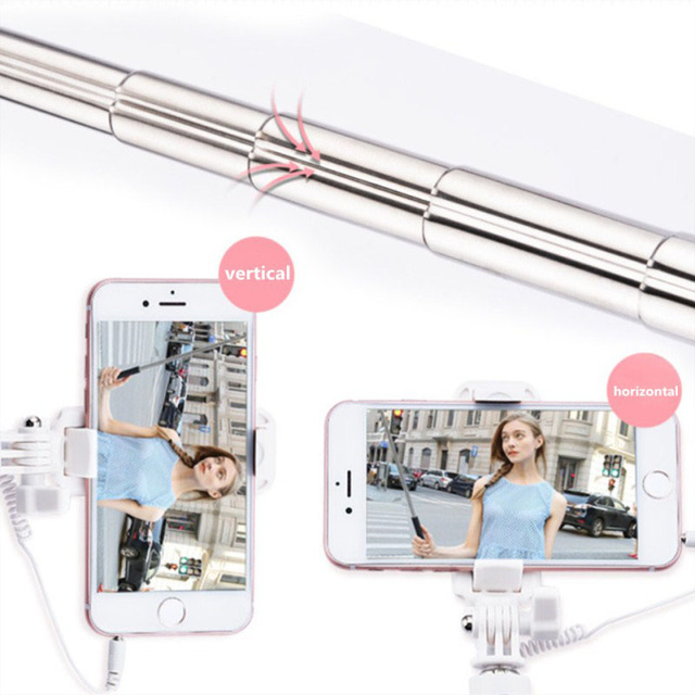 Universal Mini Selfie Stick For iPhone 6 6S plus For Xiaomi Huawei Samsung sony Mobile Phone Foldable Mirror Wired Selfie Sticks
