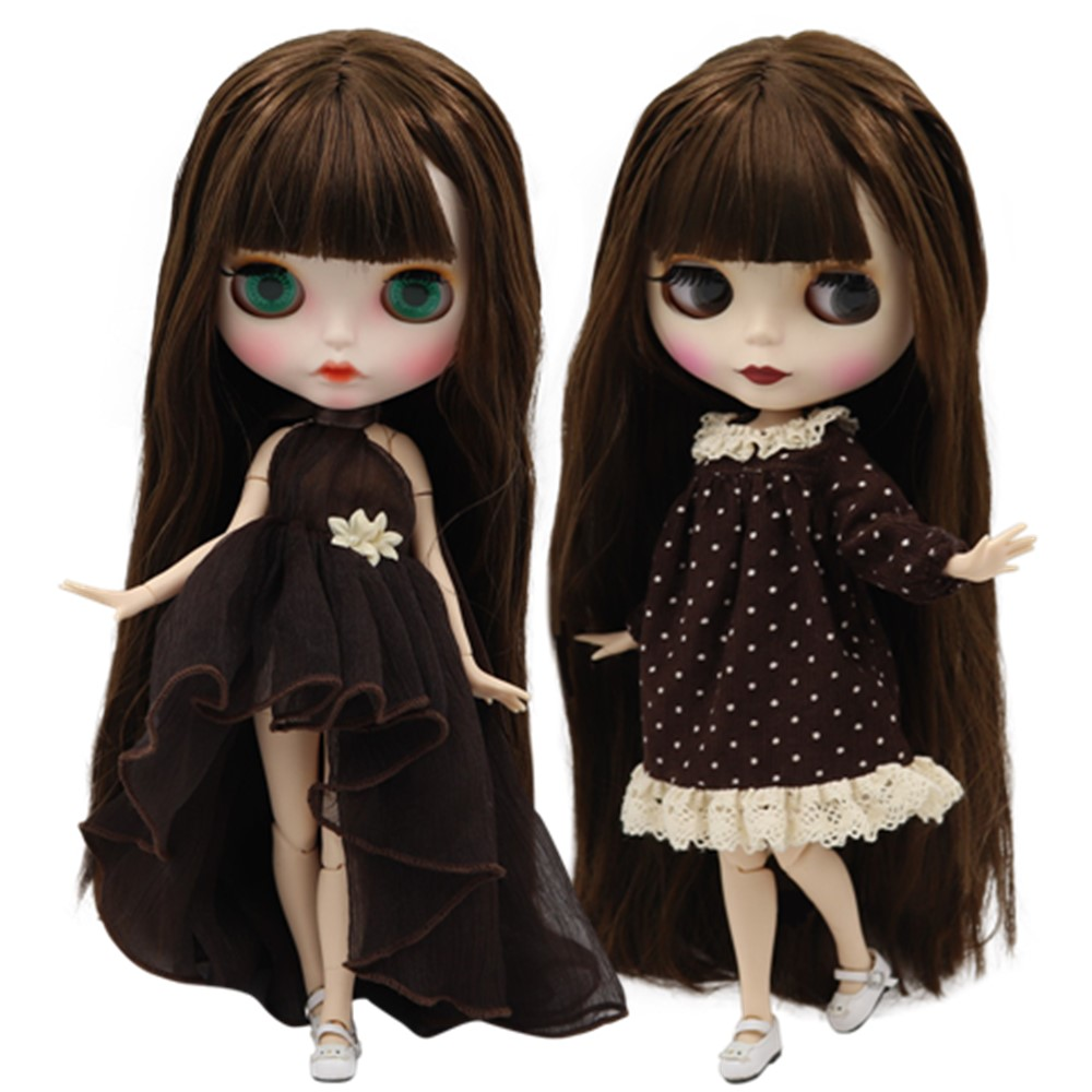 ICY factory blyth doll NO BL483 customized nude doll with brown hair joint normal body for