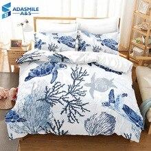 Ensemble housse de couette pour garçon, tortue de mer, pour lit, doux et confortable, pour lit double ou Queen size