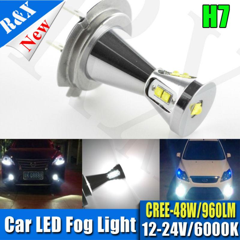 цена на  1xCar led H7 48W 12-24V Bulb Super Xenon White Fog Lights High Power Car Headlight Lamp parking Car Light Source DRL Car styling