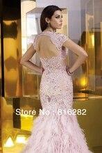 Maßgeschneiderte Rosa Kristall Perlen Sweep Zug Mermaid Luxus Abendkleid Schatz Open Back Spitze Partei Abendkleid