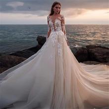 긴 소매 아가 웨딩 드레스 2020 레이스 appiques 스윕 기차 웨딩 드레스 Vestido de Noiva Longo 맞춤 제작