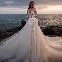 Manches longues chérie robes de mariée 2020 dentelle Appliques balayage Train robes de mariée Vestido de Noiva Longo sur mesure