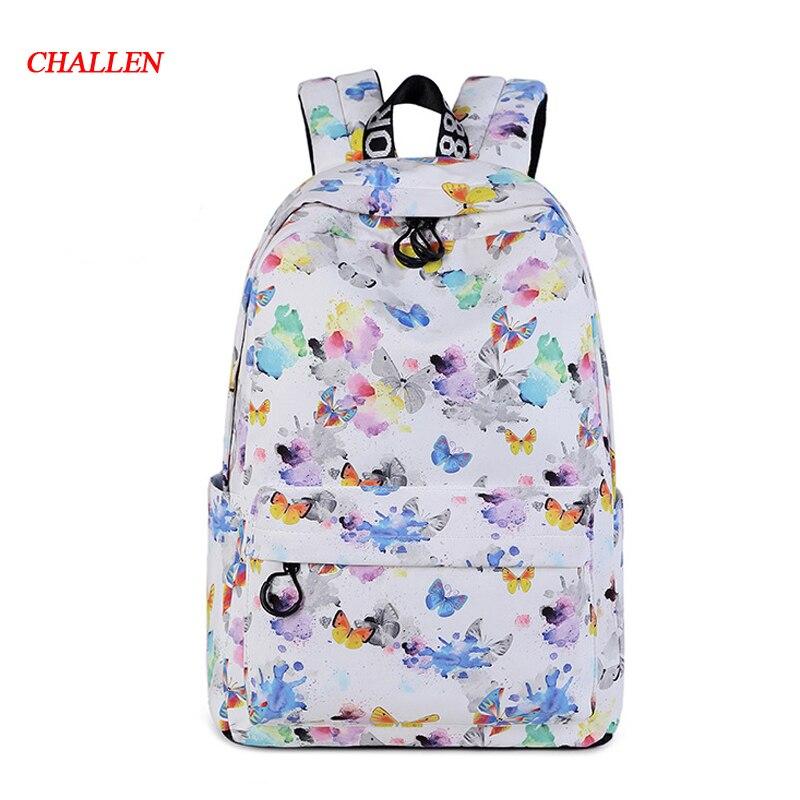 butterfly Print Women Backpack Korean Preppy Teenager Girl School Bag Casual Ladies Travel Daily Bags Laptop Bag Packs