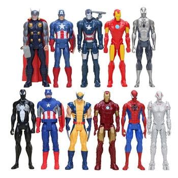 30cm American Movie Anime Super Heros Captain America Ironman Spiderman The First Avenger Superhero PVC Figure Toy predator concrete jungle figure