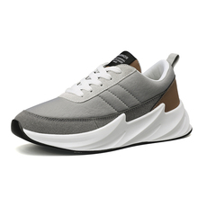Lovewise New Running Shoes Rubber Air Mesh Breathable Height Increasing Lace-Up Sports Trend Sneakers Shark Shape Black Gray