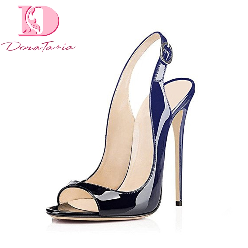 DoraTasia Brand Big Size 33-43 Gradient Peep Toe Summer Shoes Women Sexy Thin High Heels Woman Shoes Sandals 2017 new summer women shoes thin high heels women sandals sexy wedding shoes peep toe sandals femme large size 34 43