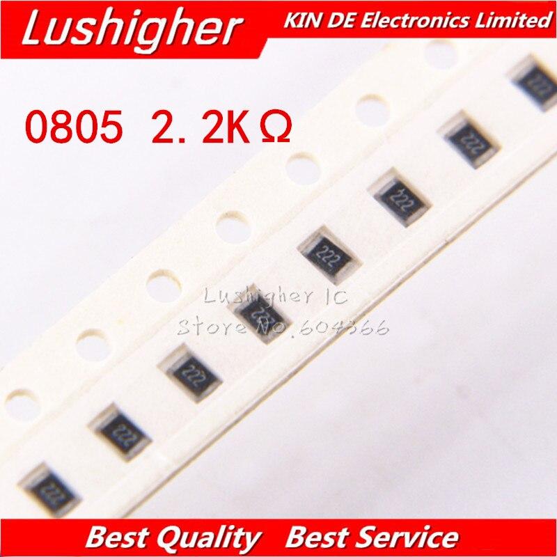 100PCS 0805 SMD Resistor 5% 2.2K ohm 222 2201 2.2Kohm 2200ohm