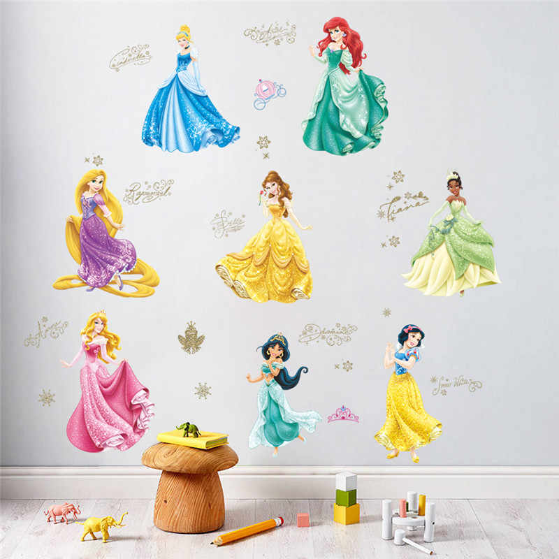 Cartoon Princess Castle Wall Stickers For Kids Room Living Rooms Bedroom Window Wall decals Birthday gift