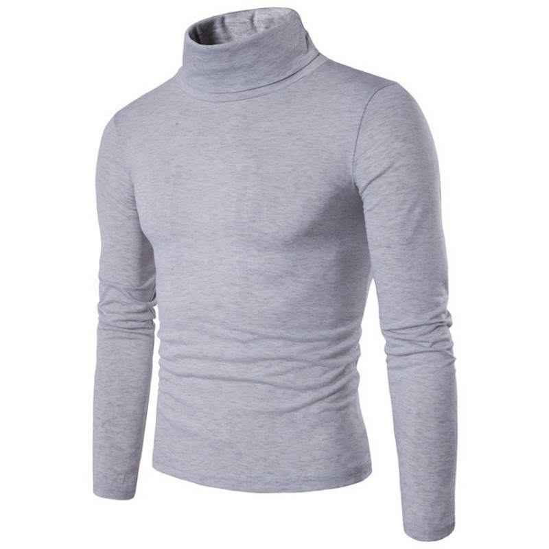 2019 New Autumn Winter Men'S Sweater Men'S Turtleneck Solid Color Casual Sweater Men's Slim Fit Brand Knitted Pullovers L-2XL