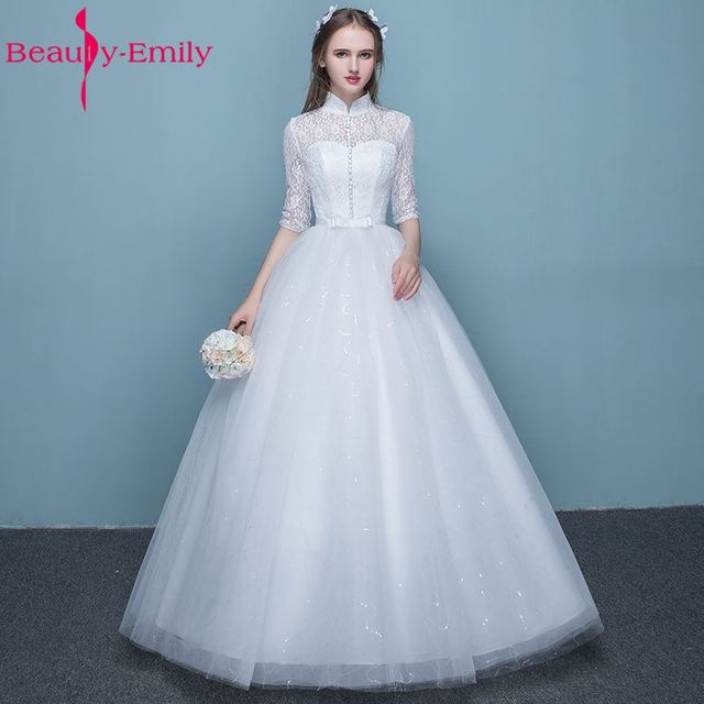 Beauty Emily Lace White Cheap Long Wedding Dresses 2017 High Lace Up ...