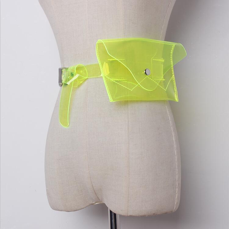 2019 Fashion Transparent Neon Bag Kids Waist Bag Women Fanny Pack Summer Pvc Mobile Phone Bum Belt Bag Neon Green Waist Packs