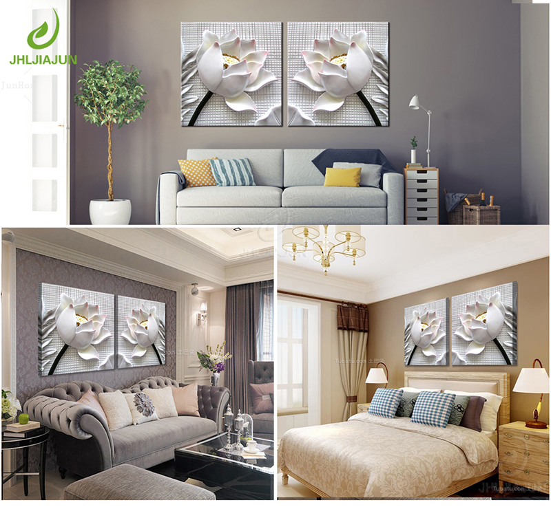 HTB1V.VUsHuWBuNjSszgq6z8jVXa7 Modular Pictures 3D Art Flower Lotus Poster Wall Art Modular Paintings For Kitchen Wall Pictures Living Room Canvas Painting